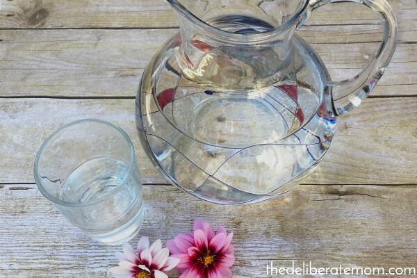 Use a fancy pitcher to make drinking water more exciting.