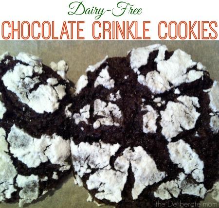 Dairy-free chocolate crinkle cookies #Christmasbaking #dairyfreeChristmas