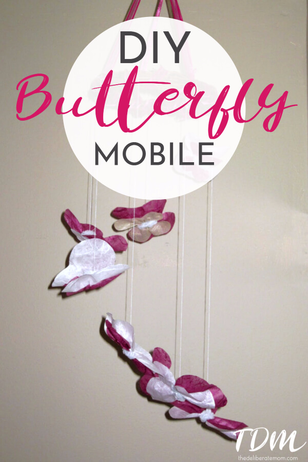 Want a unique mobile for your baby's room? Check out this unique baby room decor idea! A DIY butterfly mobile which only requires a handful of supplies!