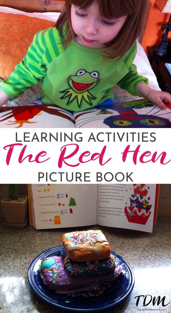 Have you read The Red Hen by Rebecca and Ed Emberley yet? This delightful children's picture is beautiful and a fun read. To top it off, there's a wonderful cake recipe at the back of the book! Here's a load of curriculum ideas to extend the learning from this one book. #childrensbooks #homeschoolcurriculum #literacybasedlearning