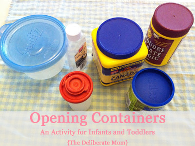 Opening Containers: An Activity for Infants and Toddlers #kids #activities