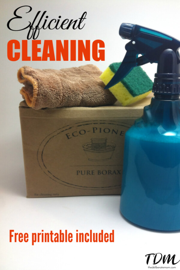 Do you ever feel like you don't have time to get all your housework done? Check out these efficient organizing tips and cleaning routine! Comes with a FREE printable cleaning list.