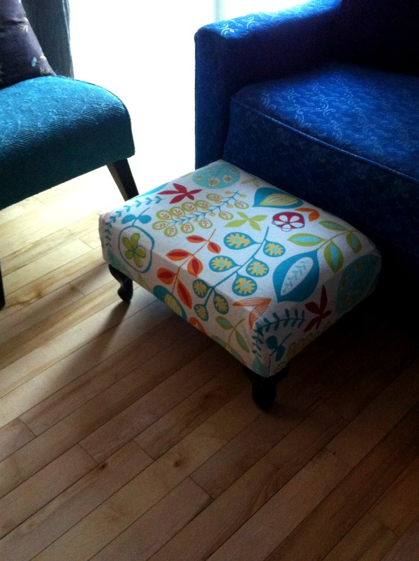 Our recovered ottoman #DIY