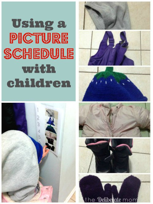 Using a picture schedule with children. How to get your child to dress independently. http://thedeliberatemom.com