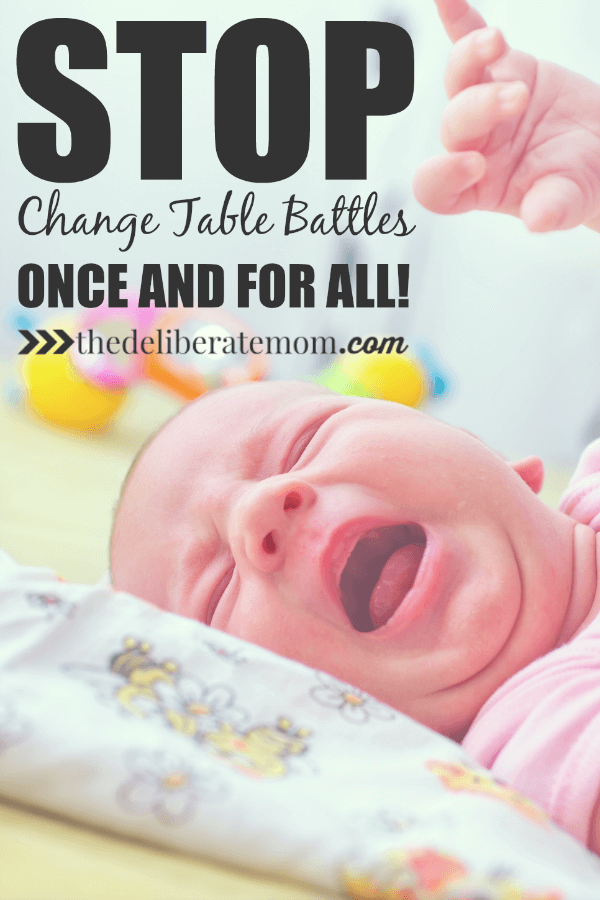 "How to deal with a child who resists diaper changes. Tips and tricks to use with your baby or toddler. It's time to ""win"" at these change table battles!"