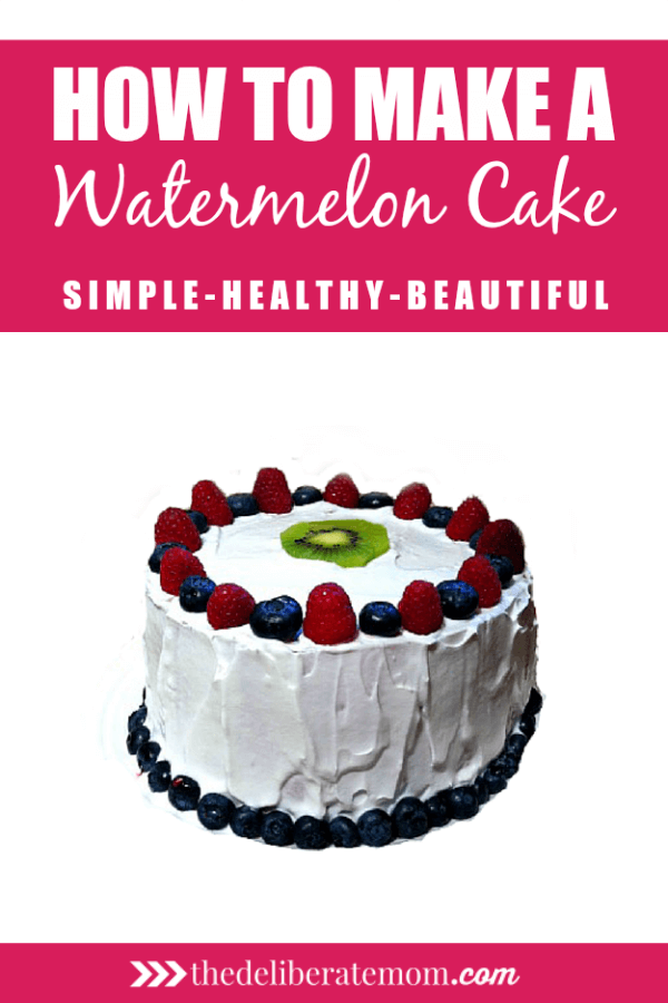 This watermelon cake recipe is simple, healthy, and beautiful. This is a no bake cake and is a dairy free recipe! It's great for anyone with food allergies, and is perfect for the summer birthday party or special occasion which requires cake.