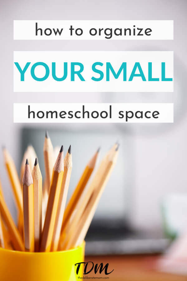 Is your home too small for a separate homeschool room? Is homeschool organization an issue? Here's my list and photos of homeschool organization tips for the small home. #homeschoolorganization #smallhome