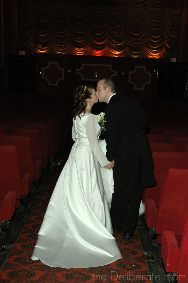 Historical movie theatre location for formal wedding shoot.