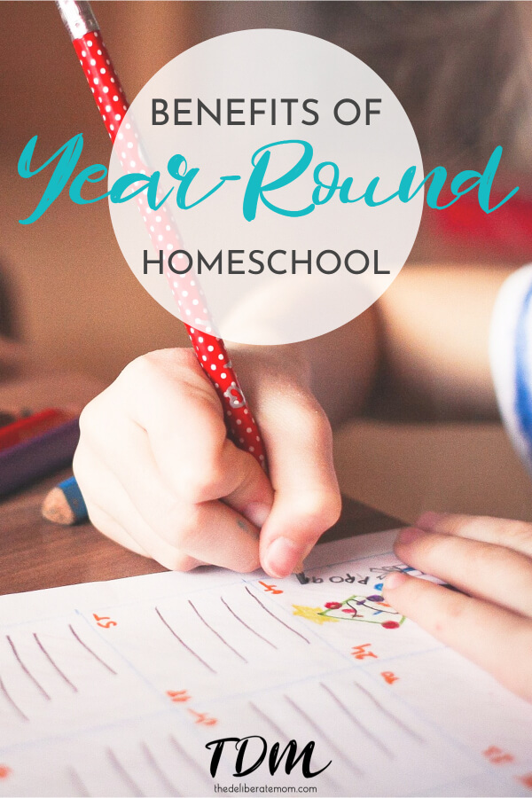 Do you ever wonder what the optimal learning schedule is for your child? We use a year-round homeschool schedule and the benefits are numerous! #homeschool #homeschoolschedule
