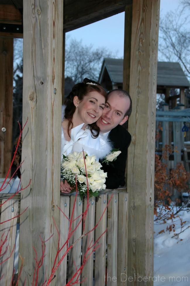 My wedding cape and a photo in a gazebo.