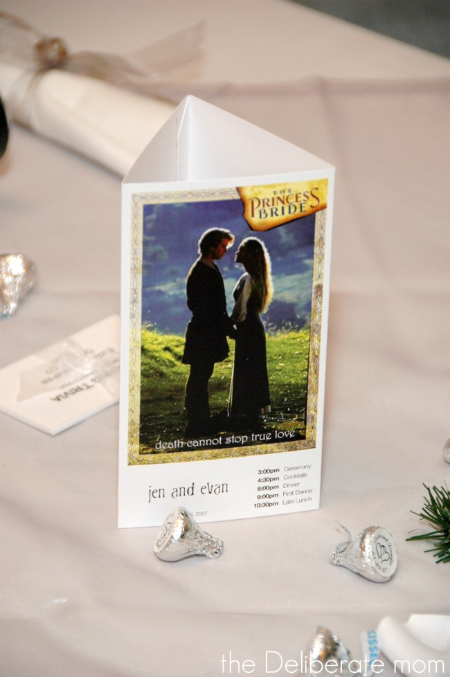 Movie themed winter wedding. Each table was named after a romantic movie and had a tri-fold program of the events.
