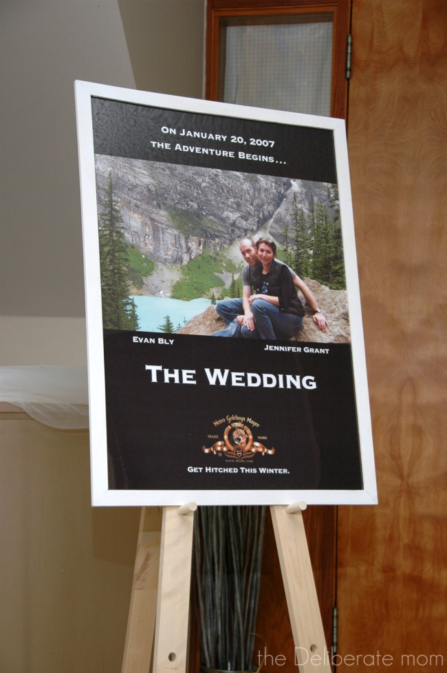 Movie themed wedding with a custom-made poster in the entrance of the hall