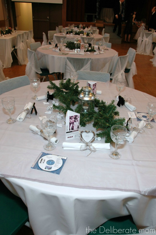 Movie-themed winter wedding.Wedding soundtracks were given out as favours.