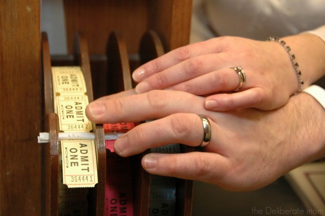 Ring picture on movie tickets. Perfect for a movie-themed wedding.