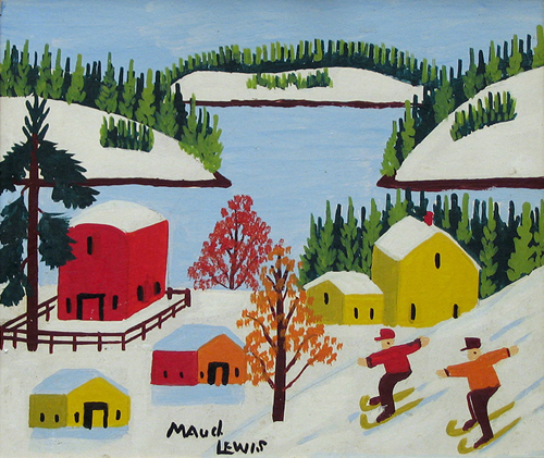Children Skiing by Maud Lewis CREDIT: ©Art Gallery of Nova Scotia. (URL: http://artgalleryofnovascotia.ca/)
