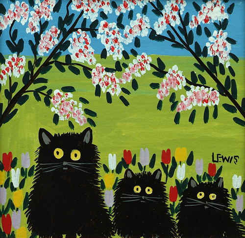 Three Black Cats by Maud Lewis CREDIT: ©Art Gallery of Nova Scotia . (URL: http://artgalleryofnovascotia.ca/)