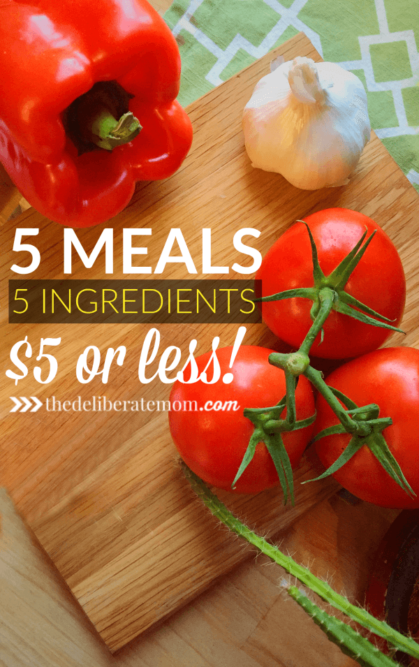 Is menu planning a challenge? You don't want to miss these 5 dinner recipes, made with 5 ingredients or less, for under $5 each! Plus, download your FREE grocery list to accompany this menu!