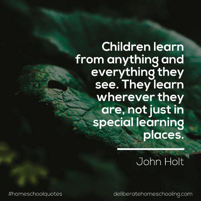 "Homeschool quote: ""Children learn from anything and everything they see. They learn wherever they are, not just in special learning places."" John Holt"