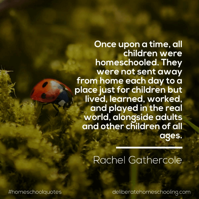 "Homeschool quote: ""Once upon a time, all children were homeschooled. They were not sent away from home each day to a place just for children but lived, learned, worked, and played in the real world, alongside adults and other children of all ages."" Rachel Gathercole"