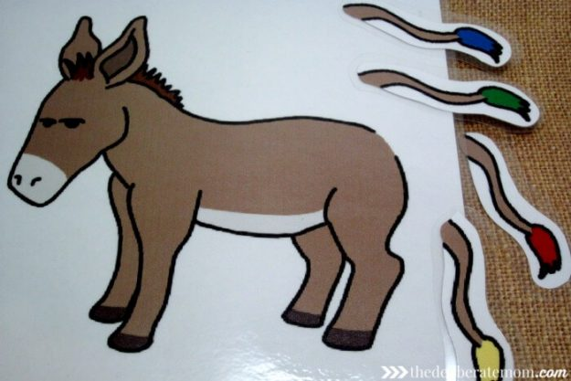 Miniature pin the tail on the donkey for the birthday bin.