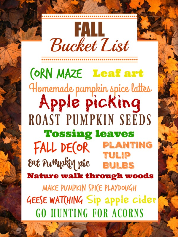 Our fall bucket list! It's a free downloadable 8x10 print!