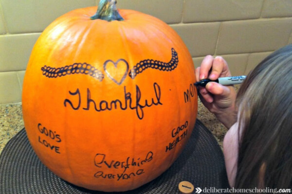 Thanksgiving pumpkin - write what we're thankful for on our pumpkin.