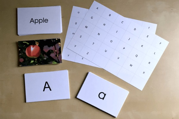 Our April Morning Time Basket includes this deluxe set of alphabet cards!