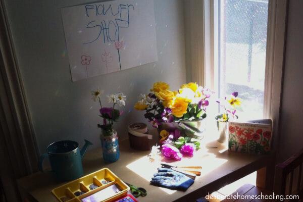 May Preschool Calendar Activity - Set up a dramatic play flower shop!