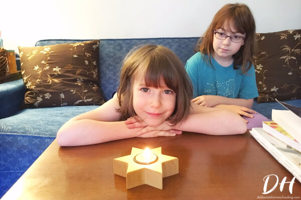 Simple rituals like lighting a candle before Morning Time makes our homeschool more peaceful.