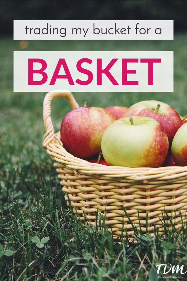 Are you making a fall bucket list? I'm trading my bucket and picking up a basket. Find out more and get a free 2-page printable worksheet as well. #parenting #faith