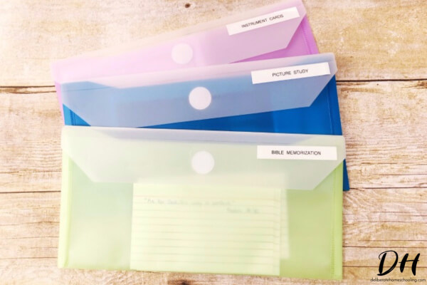 These plastic card holders are a unique homeschool organization tool.