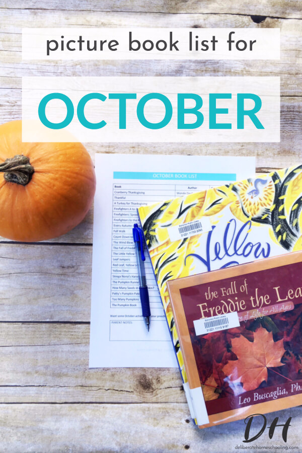Picture books are a significant part of our homeschool curriculum. Books are a wonderful way to teach children and introduce new concepts. Here is our October picture books list.