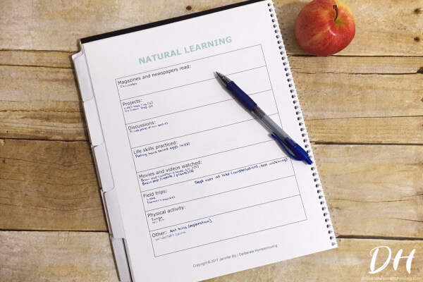 This natural learning sheet is a great way to track what you HAVE learned!