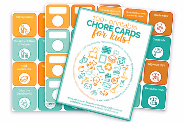 Use chore cards to get your kids to help clean the house and to help you stay organized!