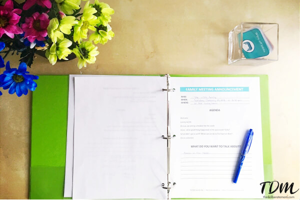 The family meeting agenda is posted ahead of time. The meeting minutes are kept in our family meeting binder.