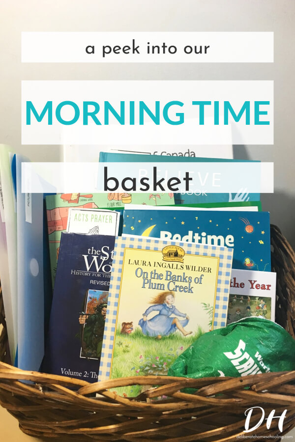 We love morning time and our morning time curriculum changes often. Here's a peek at what books we currently have in our morning time basket! From our daily read-aloud, to math, and science books... our basket is overflowing with great reads.