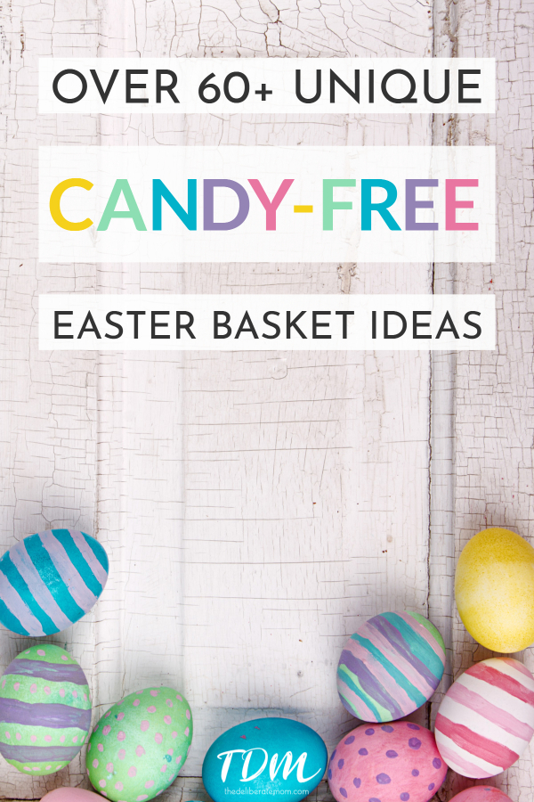 Are you looking for candy-free Easter basket ideas? Well look no further! Here is a list of some of the best candy-free Easter basket ideas! Check out over 60+ unique, candy-free Easter basket ideas! You're sure to find something your child will love! #candyfreeEaster #Easterbasketideas #Easterideas