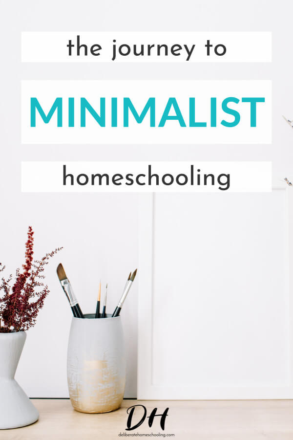 Do you find you have too many homeschool plans, too many materials, and too little time? At times does homeschooling feel more like a burden than a joy? Is your homeschool overflowing with books, supplies, and stuff? Come read about this family's journey to minimalist homeschooling. #homeschool #minimalism