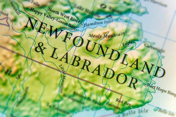 Newfoundland & Labrador map.