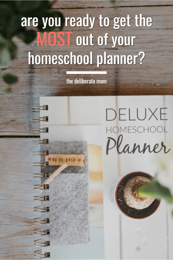 Homeschool planner on a table with a plant.